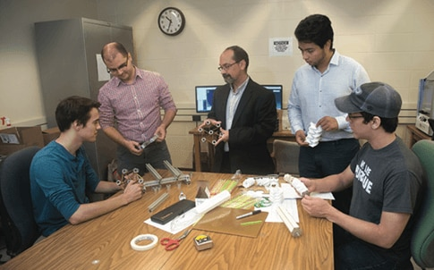 From left, civil engineering junior Gordon Jarrold, post-doc student David Restrepo, Professor Pablo Zavattieri, civil engineering senior Cristian Tejedor and aeronautics and astronautics junior John Cleveland.