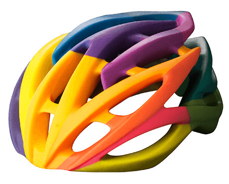 a colorful 3D printed helmet