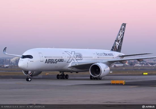 The Airbus A350 XWB aircraft at Sydney Airport
