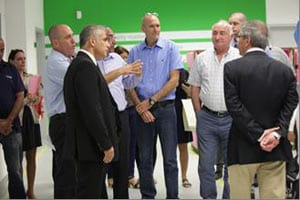 Amir Kleiner, VP of Operations in Israel for Stratasys (left), gives Israeli Minister of Finance, Mr. Yair Lapid, a tour of Stratasys facility in Kiryat Gat, Israel